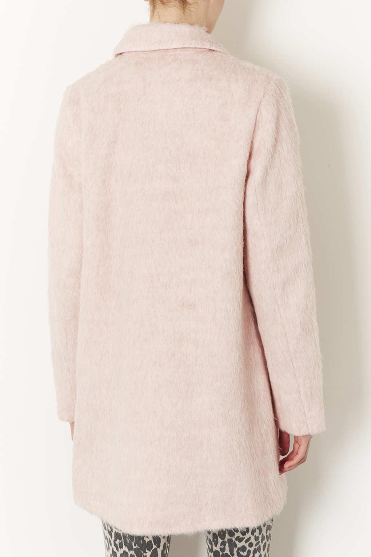 Topshop Fluffy Swing Boyfriend Coat in Pink | Lyst