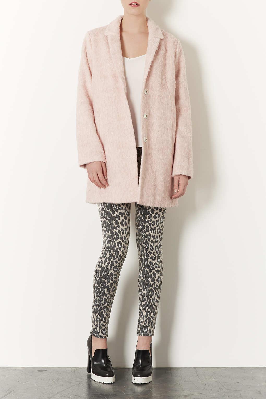 Topshop Fluffy Swing Boyfriend Coat In Pink Lyst