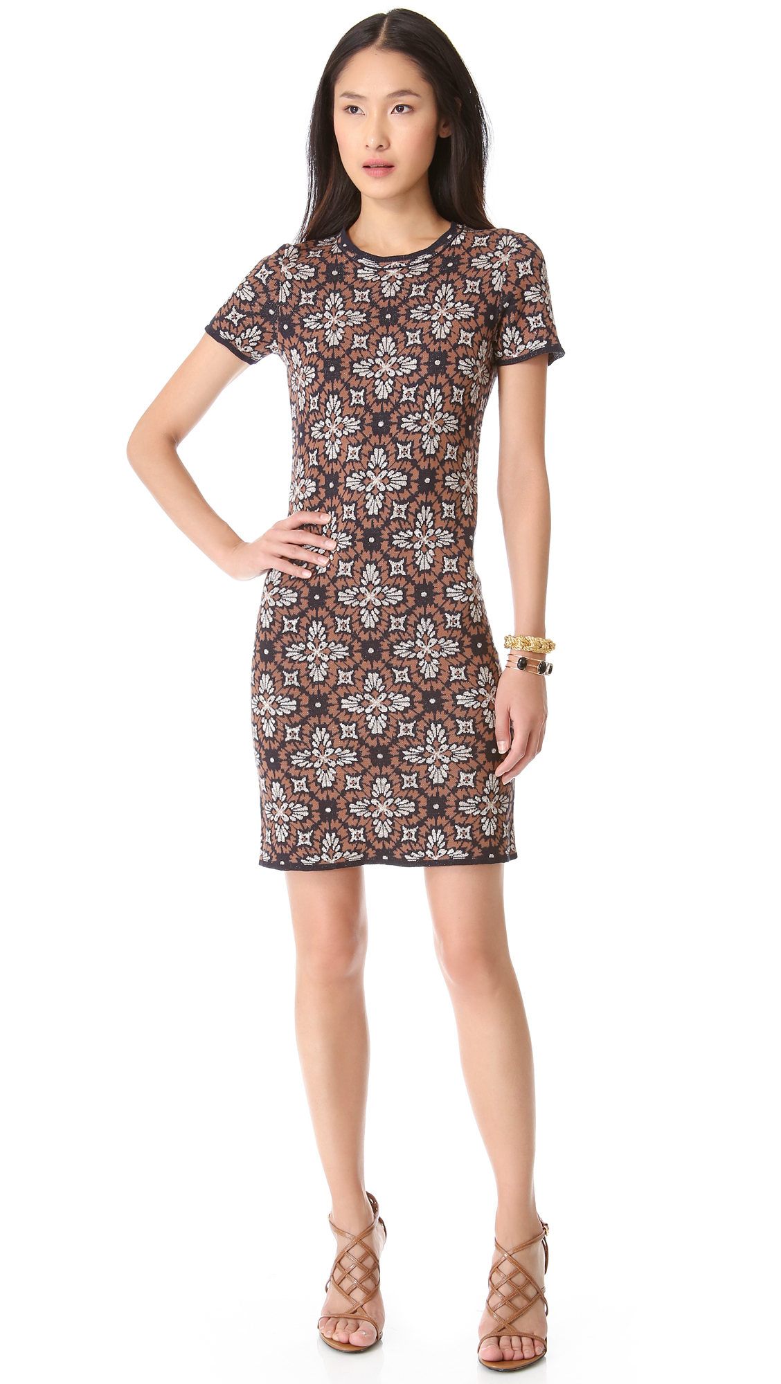 Tory Burch Natalie Knit Dress In Brown Lyst