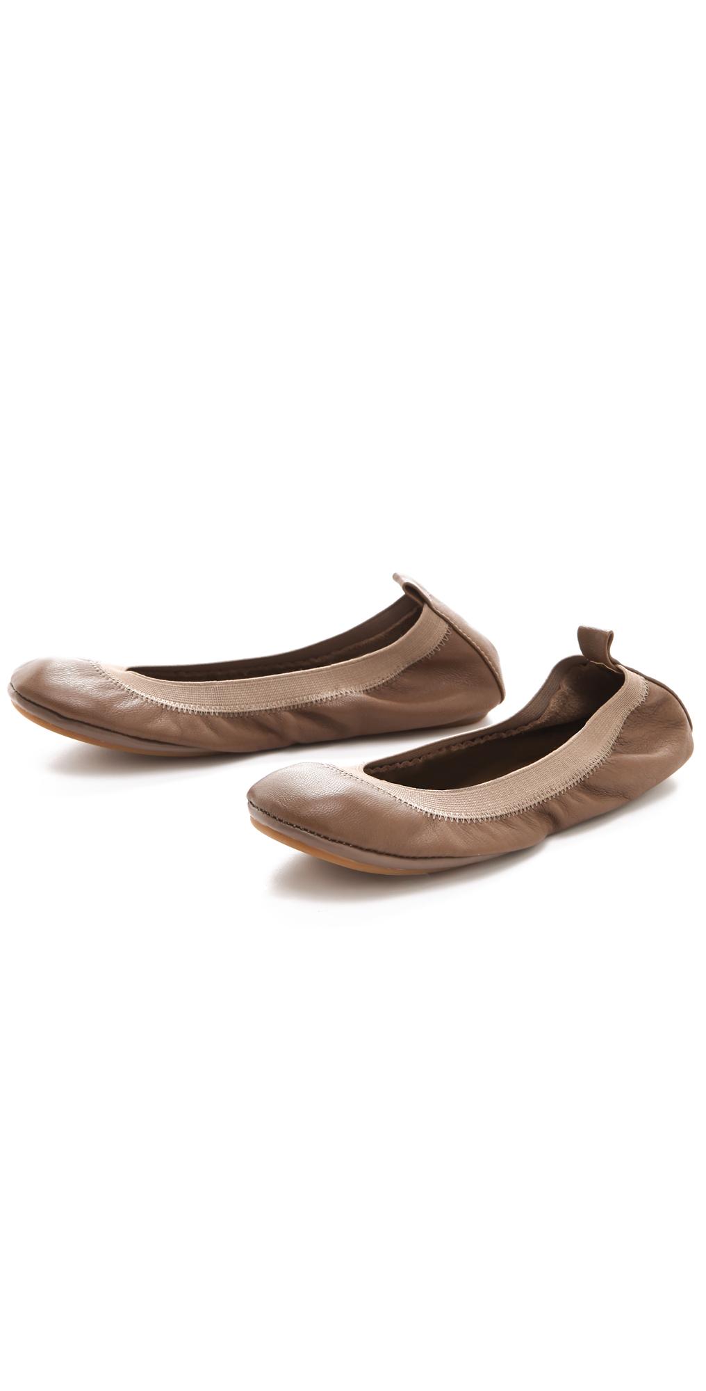 6ec994089bd1 Lyst - Yosi Samra Elastic Top Line Ballet Flats Taupe in Brown