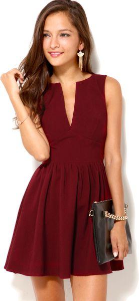 akira deep cut sleeveless mini dress in red oxblood lyst. Black Bedroom Furniture Sets. Home Design Ideas