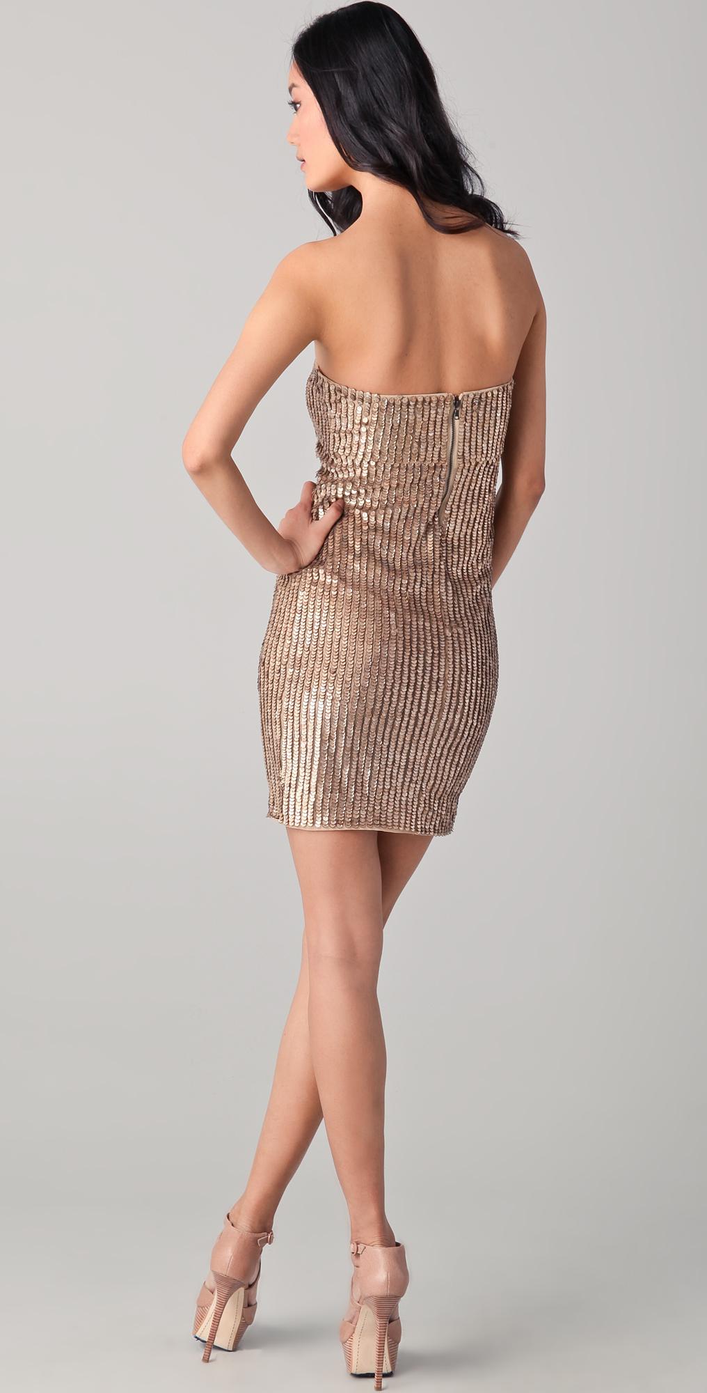 Gold Sequin Tube Dress