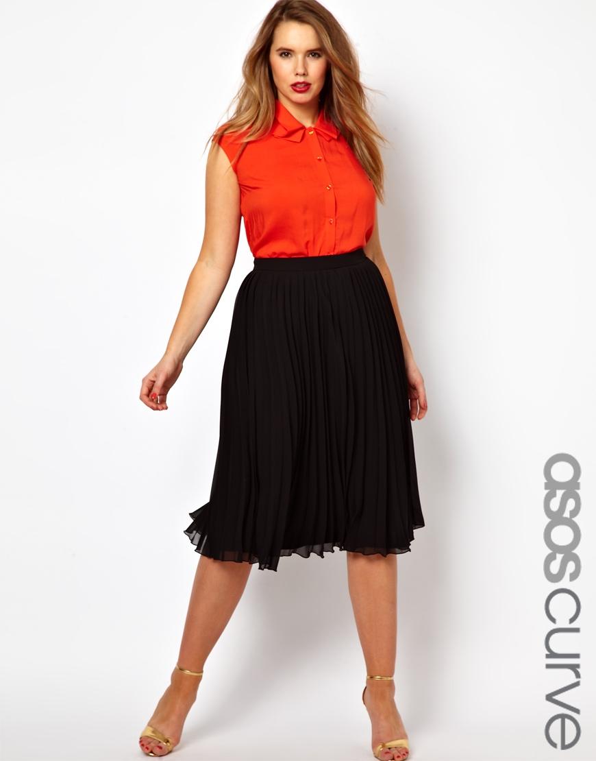 asos midi skirt with pleats in black lyst