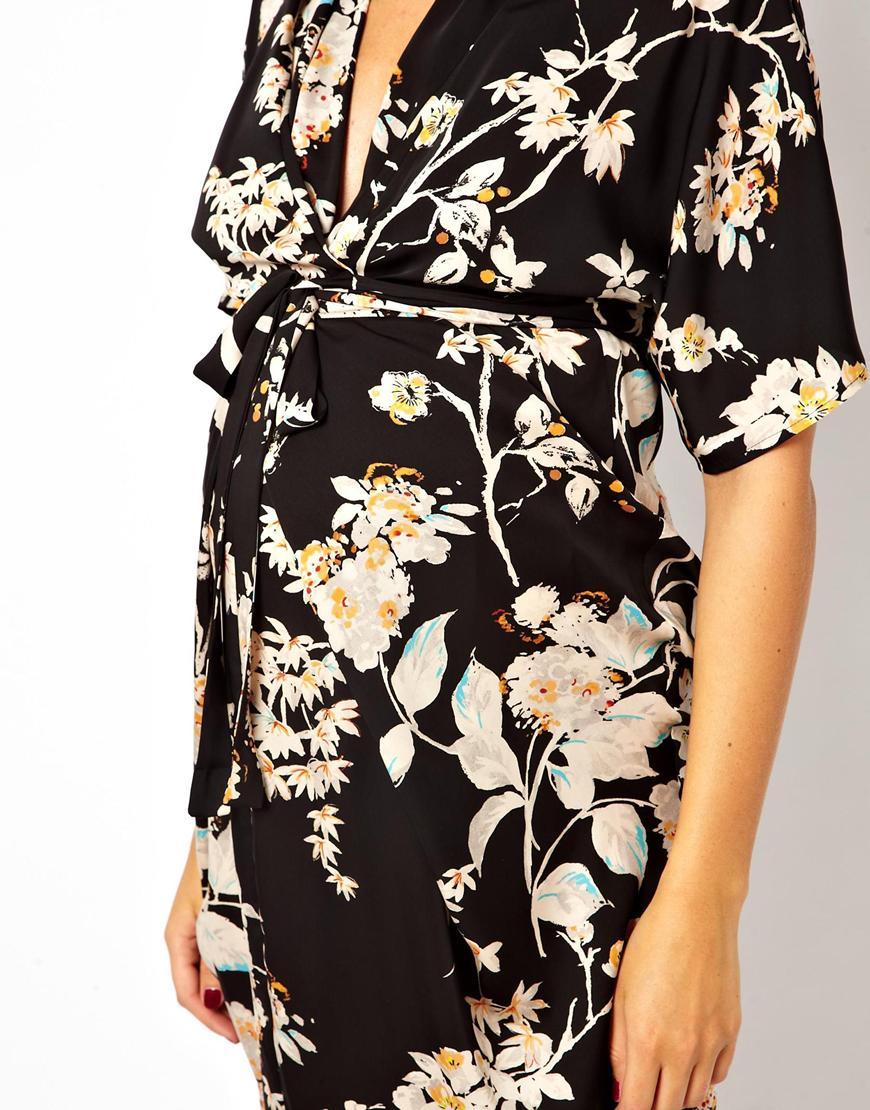 0233ea0c66c29 ASOS Asos Maternity Kimono Dress in Oriental Bird Print in Black - Lyst