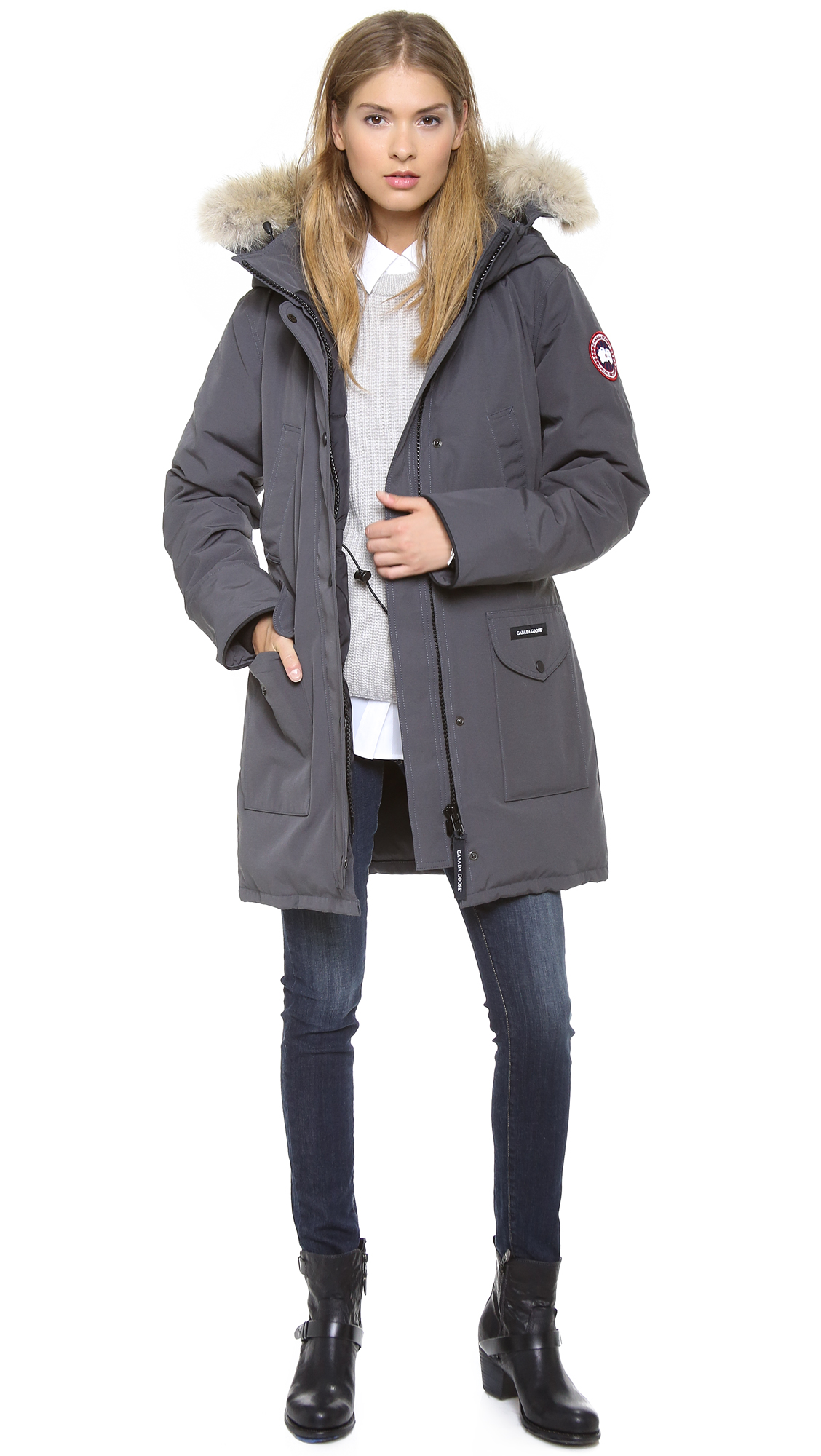 Canada Goose down outlet fake - Canada goose Trillium Parka in Gray (beige) | Lyst