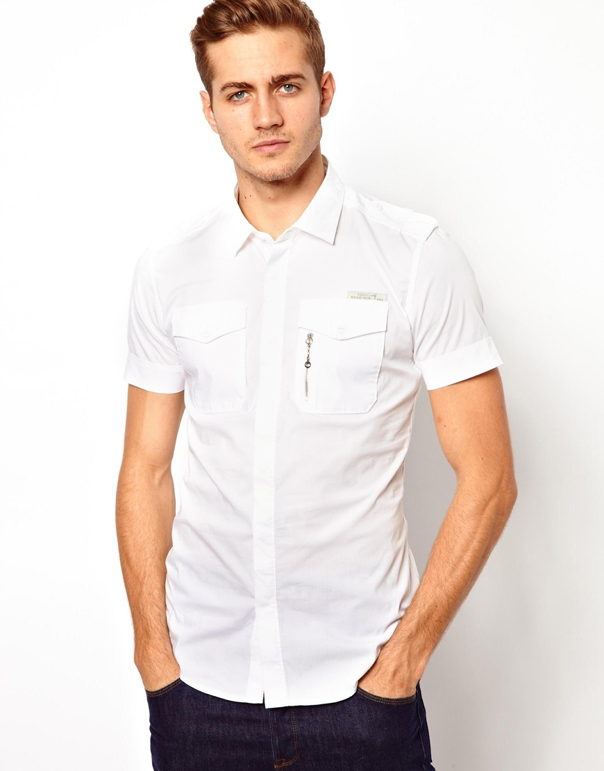 Lyst - Humor Diesel Shirt Short Sleeve Military Stombol in White ...