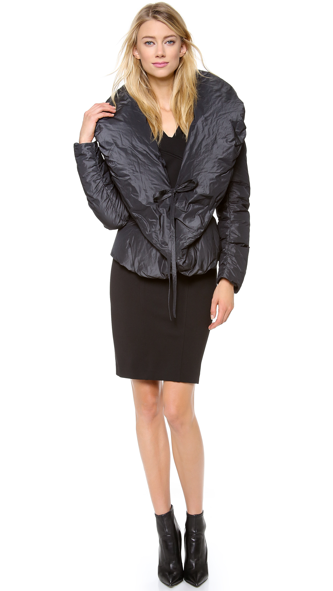 Donna karan new york shawl collar down jacket in gray for Donna karen new york