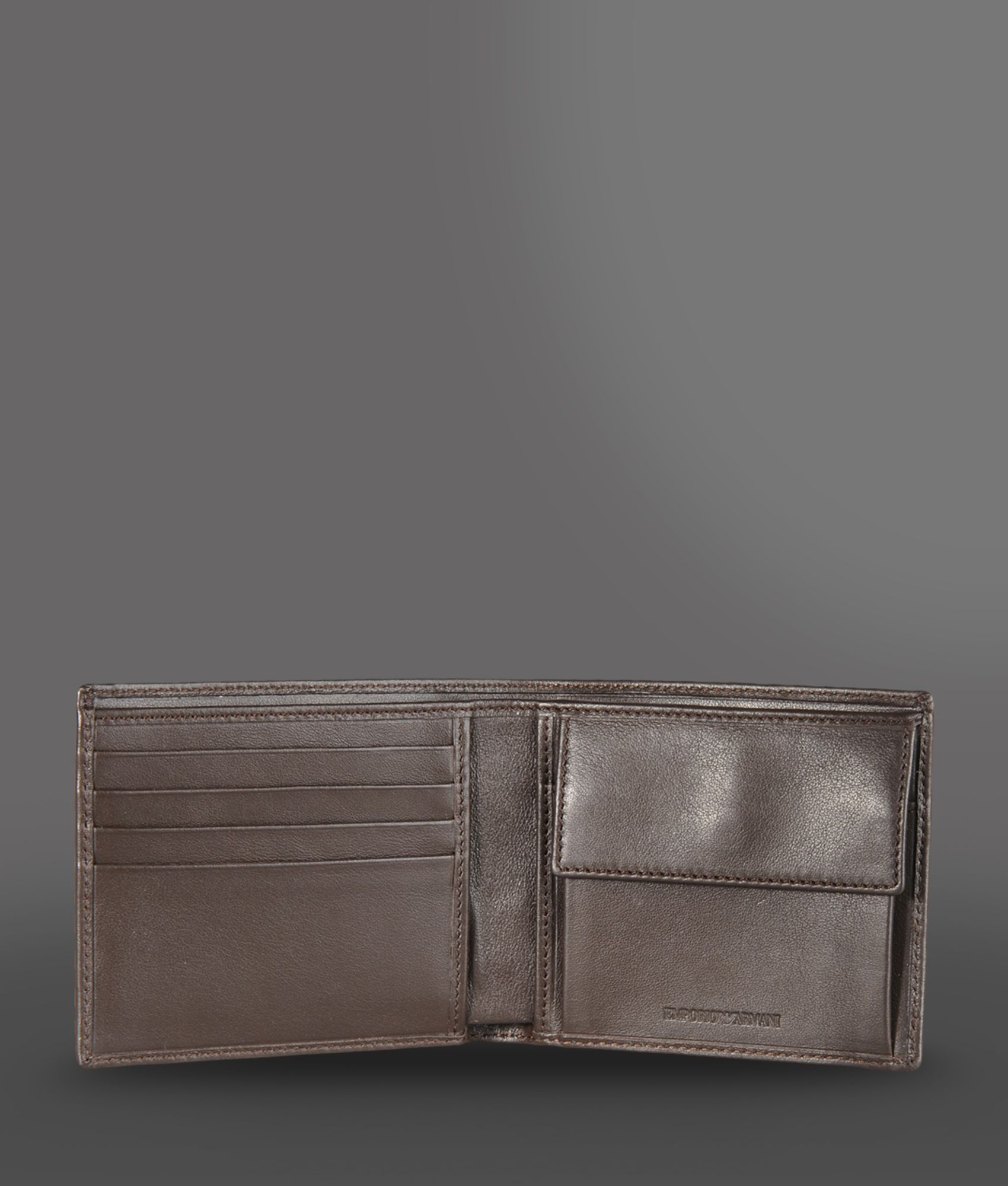 480b97ac8a Lyst - Emporio Armani Leather Wallet with Coin Purse in Brown for Men