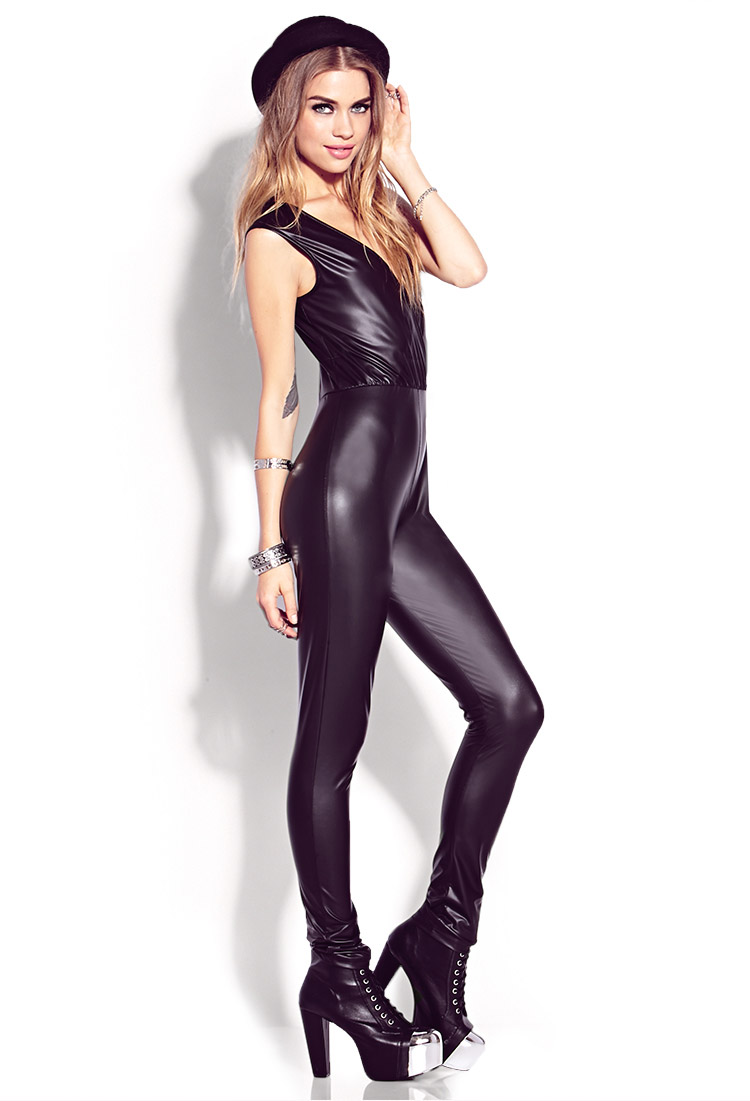 Forever 21 Standout Faux Leather Jumpsuit In Black Lyst