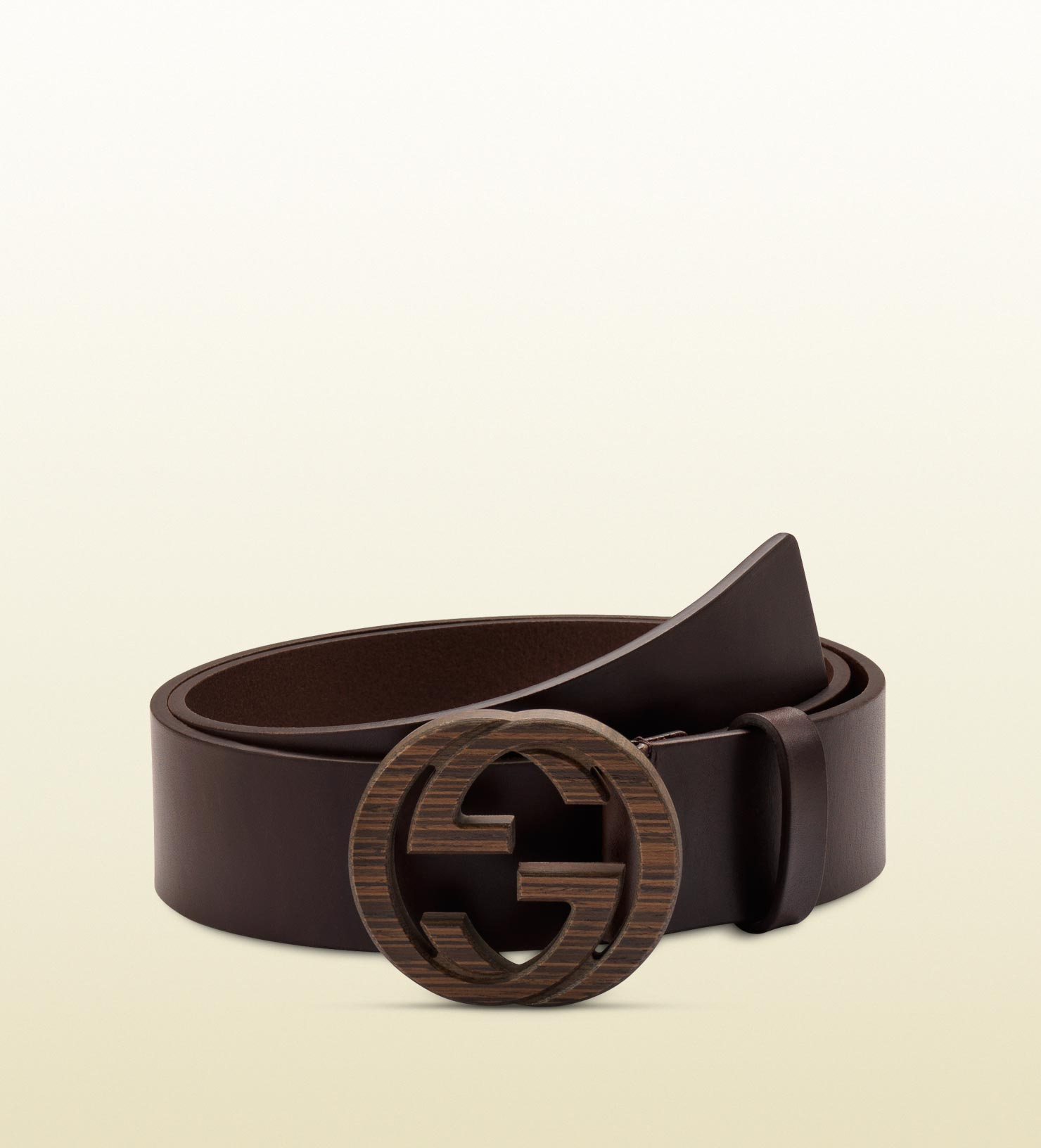 9a5af6a9931e Lyst - Gucci Brown Leather Belt With Interlocking G Buckle in Brown