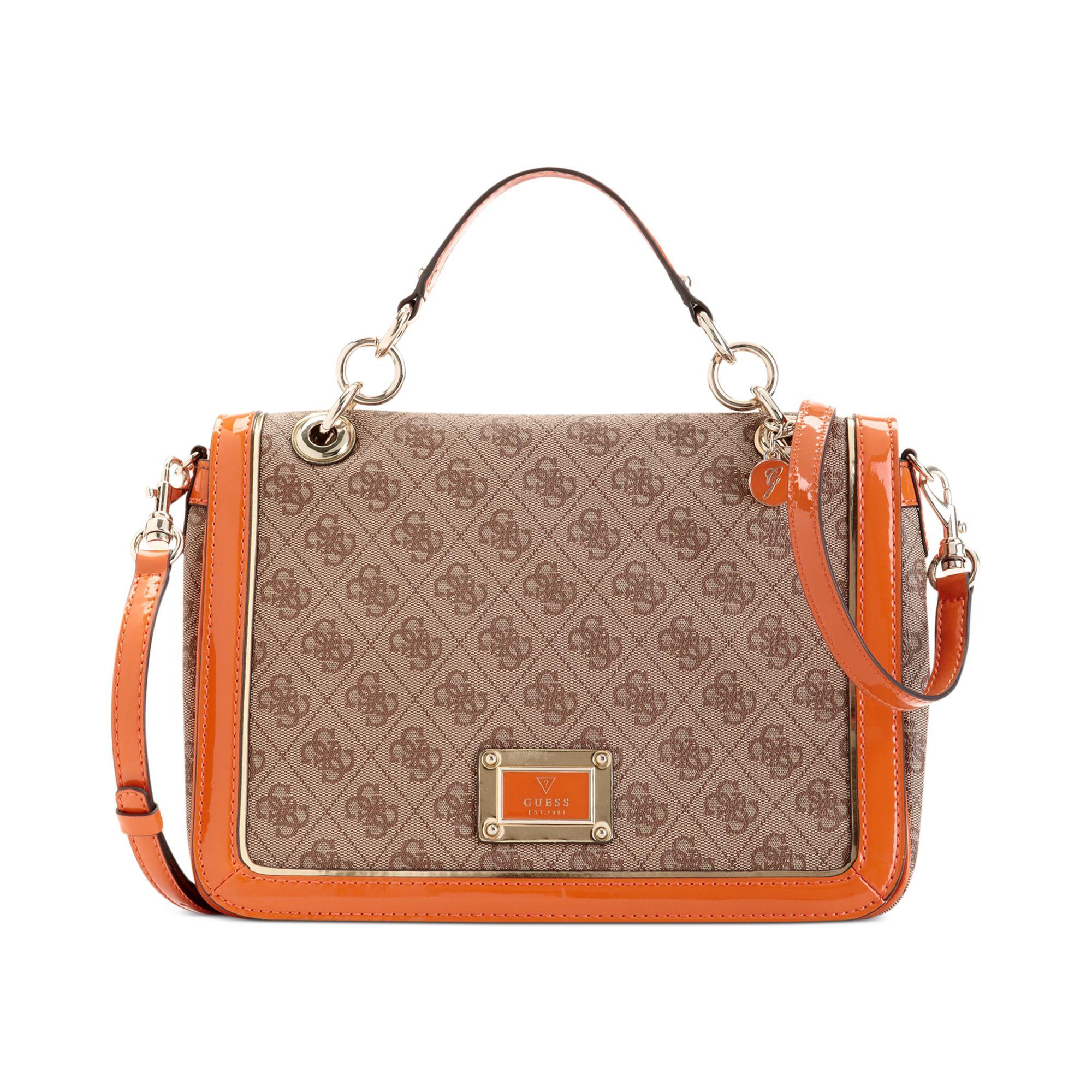 b6e94b3e99 Lyst - Guess Guess Handbag Reama Top Handle Flap Shoulder Bag in Orange