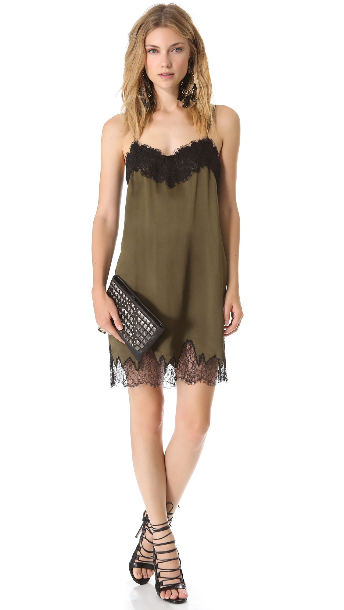 Haute hippie lace slip dress in green military black lyst for To have and to haute dress