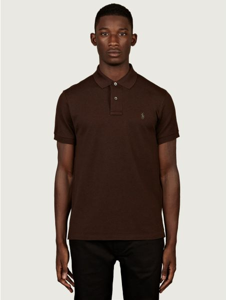 Polo Ralph Lauren Mens Slim Fit Polo Shirt In Brown For