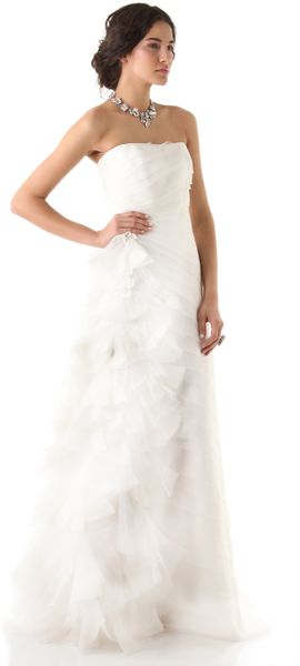 Reem Acra Simple Beauty Strapless Dress in White (Ivory) - Lyst