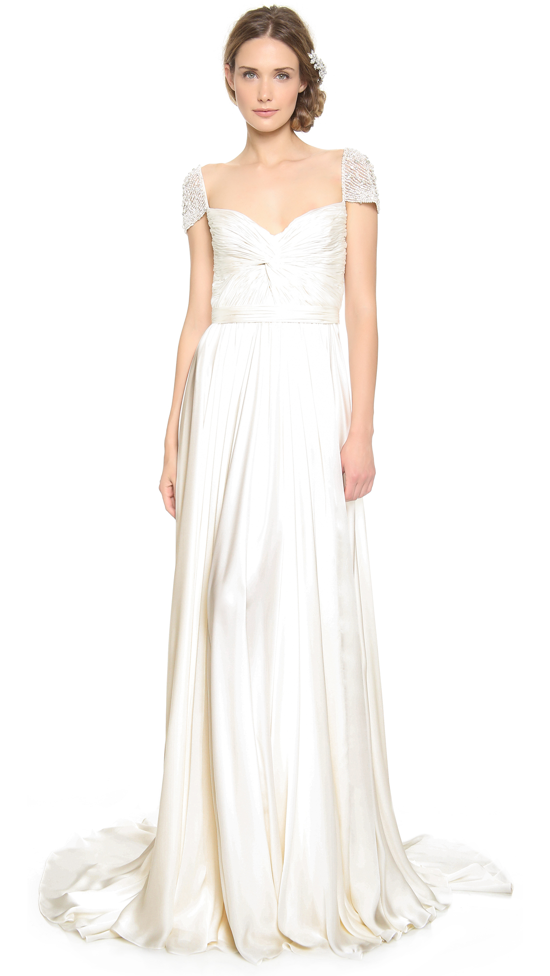 Reem Acra Twist Front Gown With Jeweled Sleeves In White