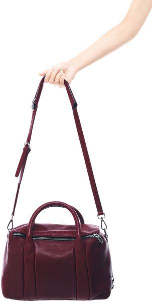 Zara Leather Bowling Bag In Purple Burgundy Lyst