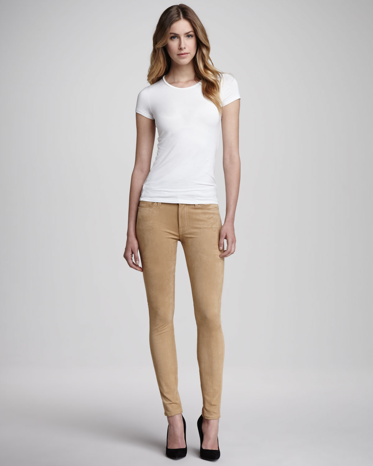 7 for all mankind The Sueded Skinny Jeans in Natural | Lyst
