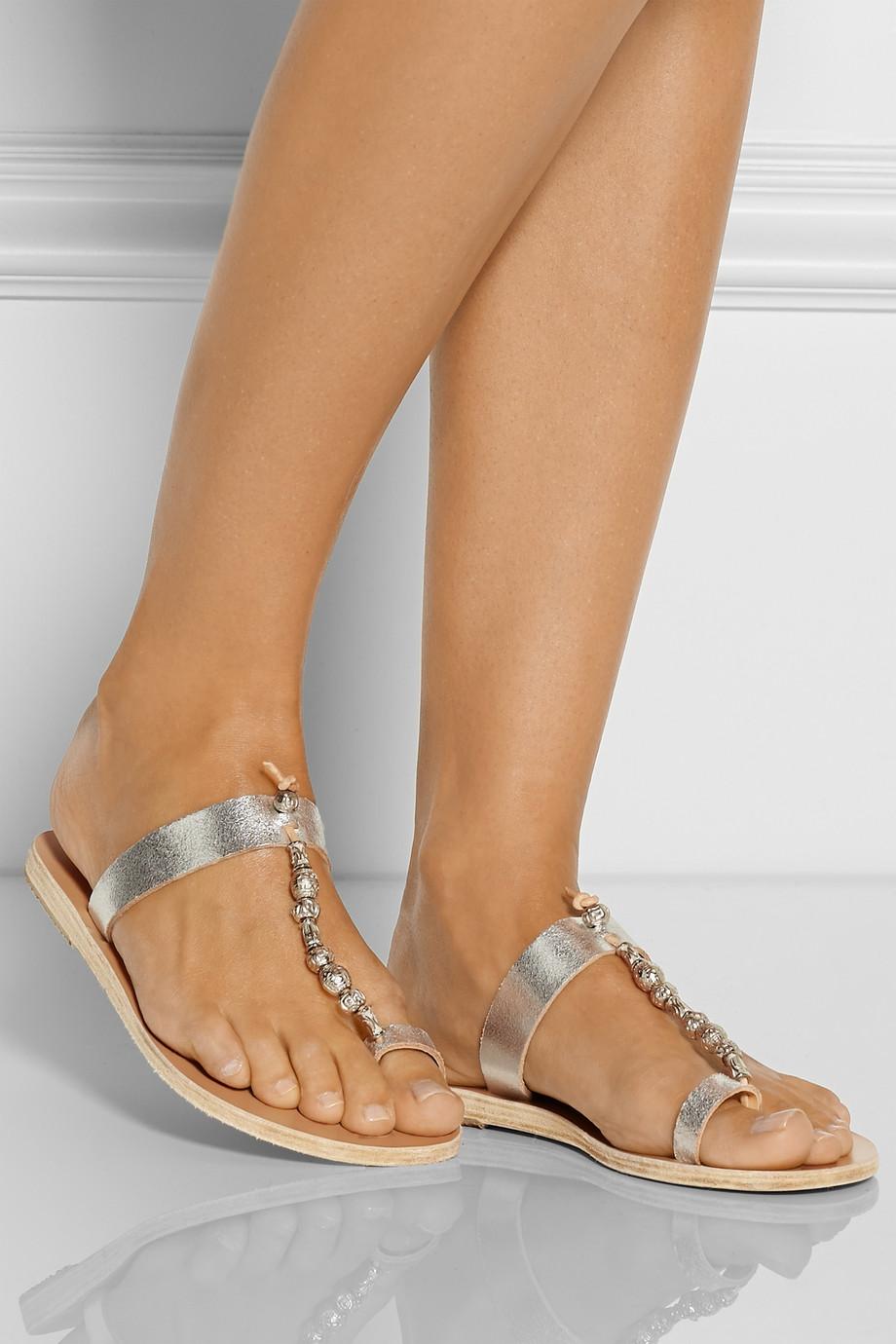 Sandales En Cuir Perles Iris Anciens Sandales Grecques 3sSXwD