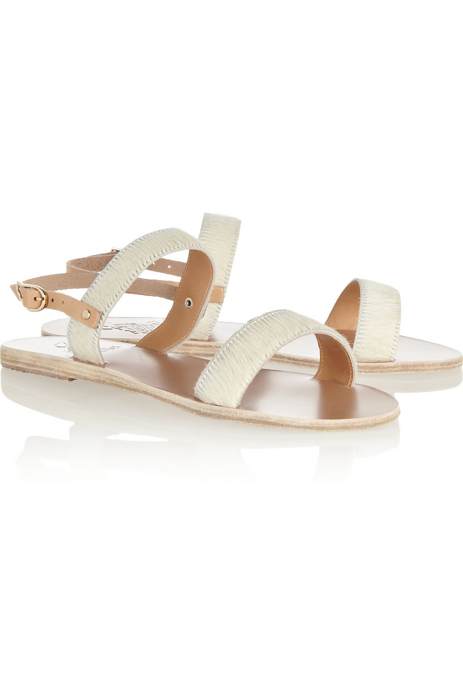 d6c3b0206f0f8 Lyst - Ancient Greek Sandals Clio Calf Hair And Leather Sandals in White