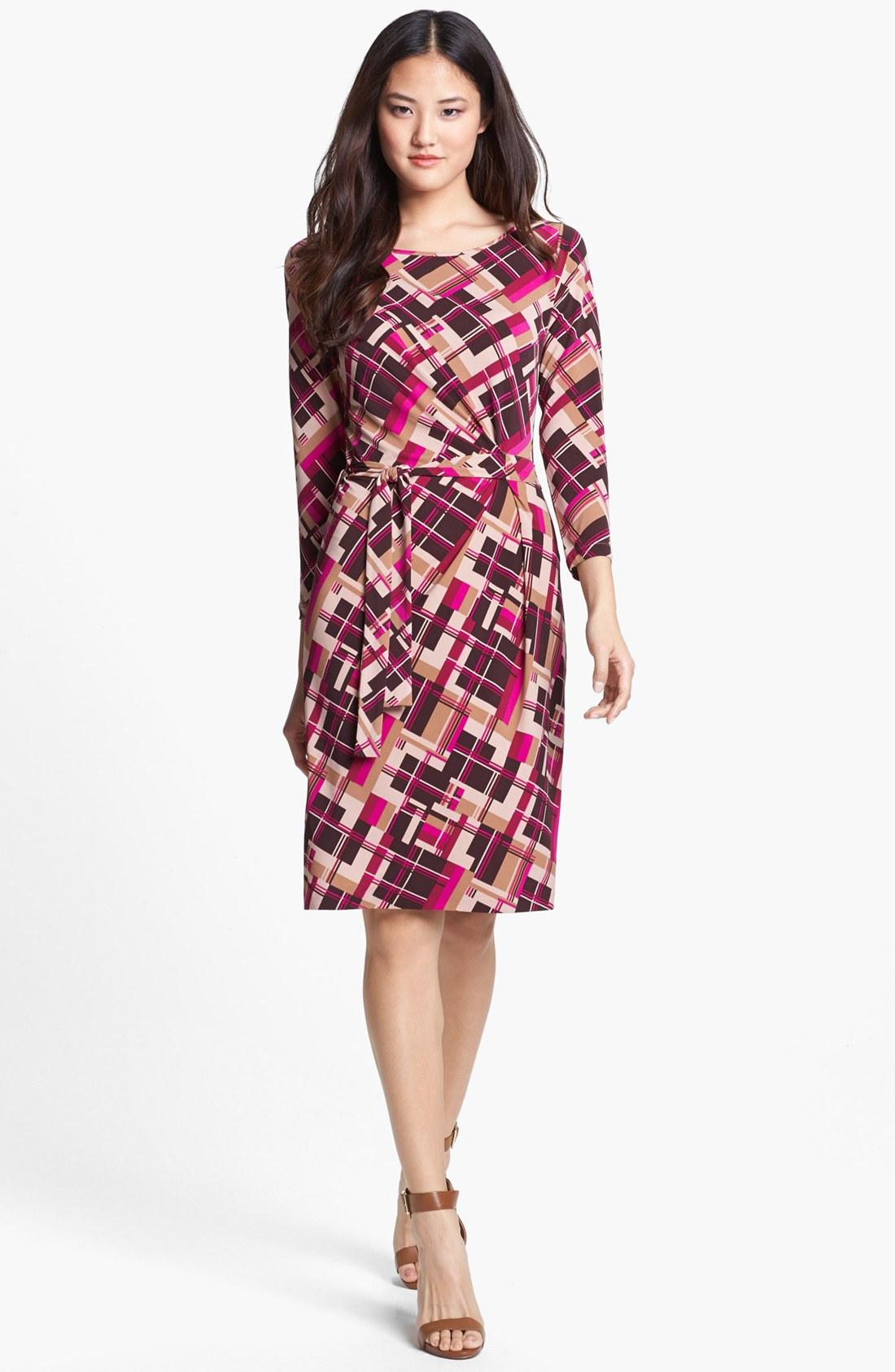 Anne Klein Print Jersey Faux Wrap Dress In Purple Magenta