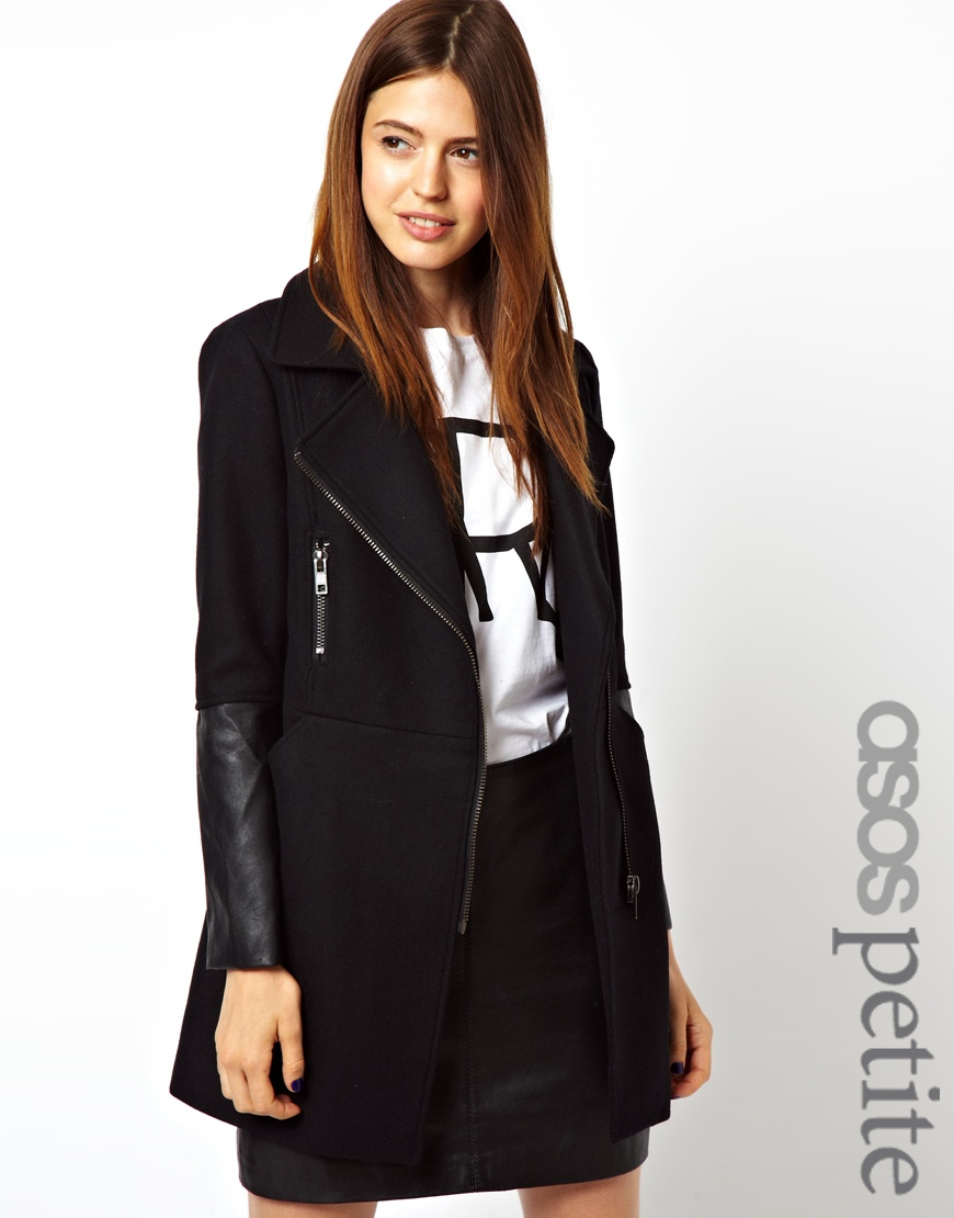 French connection Asos Petite Exclusive Biker Coat in Black | Lyst