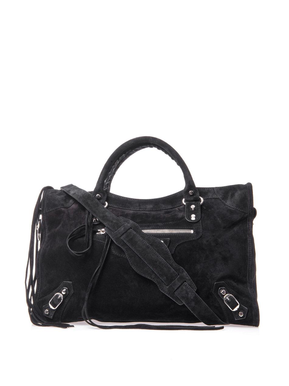 balenciaga classic suede city bag in black lyst. Black Bedroom Furniture Sets. Home Design Ideas
