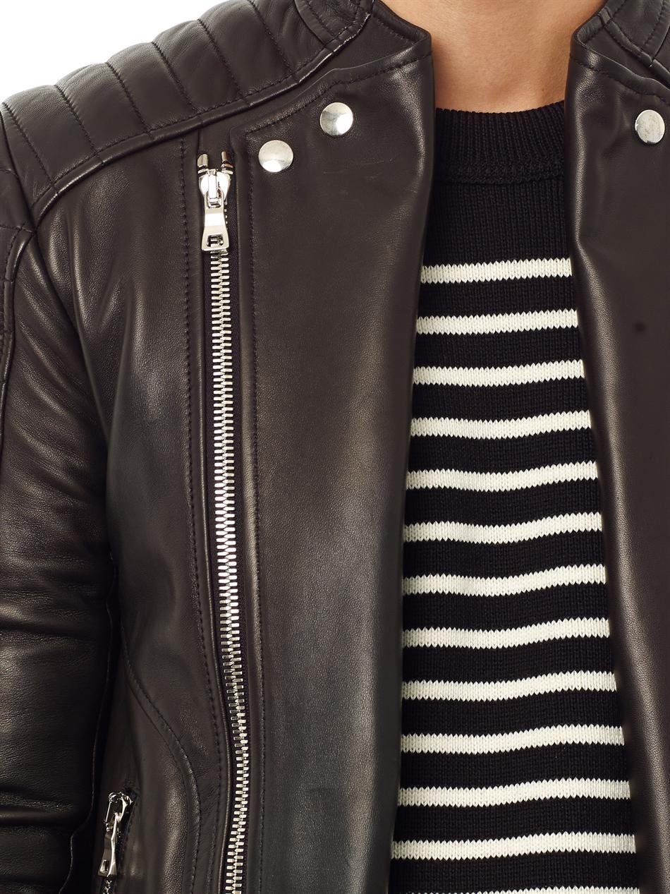 Balmain Quilted Leather Biker Jacket In Black For Men Lyst