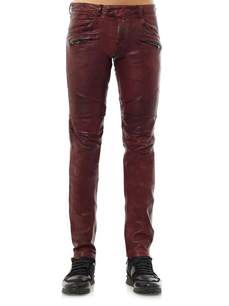 Luxury BALMAIN Men39s Leather Biker Trousers Amp Leopard Boots  Fall Winter