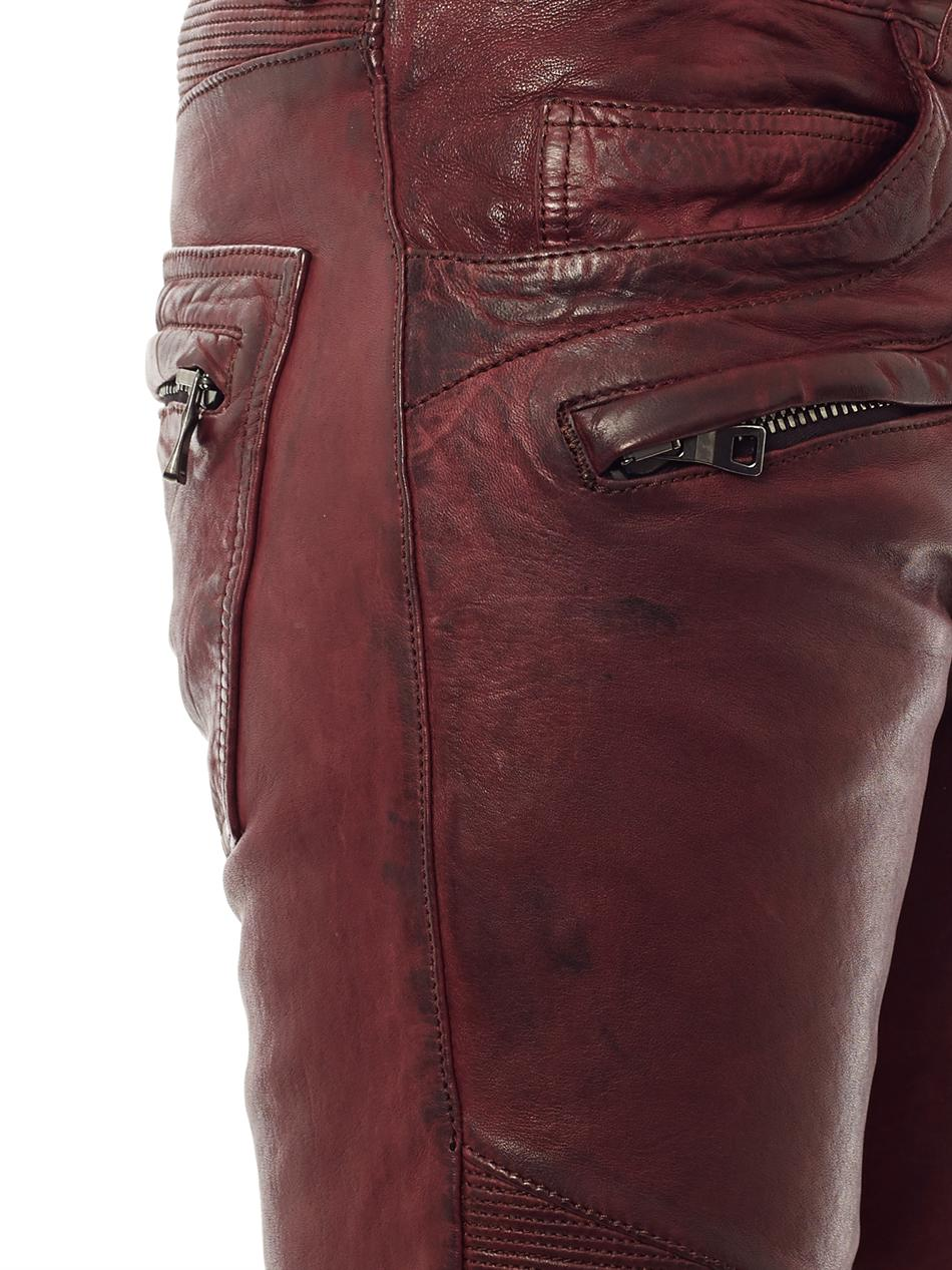 f70ba1c7 Balmain Distressed Leather Jeans in Red for Men - Lyst