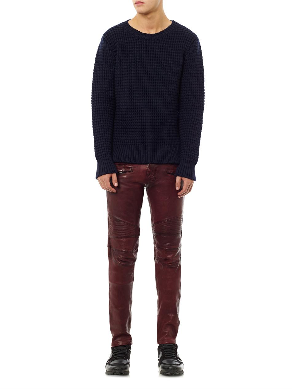 Lyst Balmain Distressed Leather Jeans In Red For Men