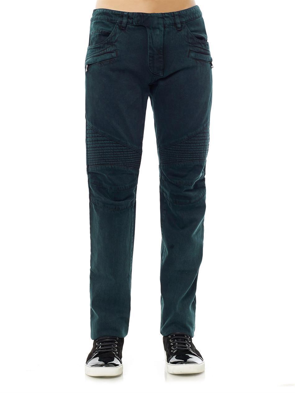 balmain straight leg biker jeans in blue for men teal lyst. Black Bedroom Furniture Sets. Home Design Ideas