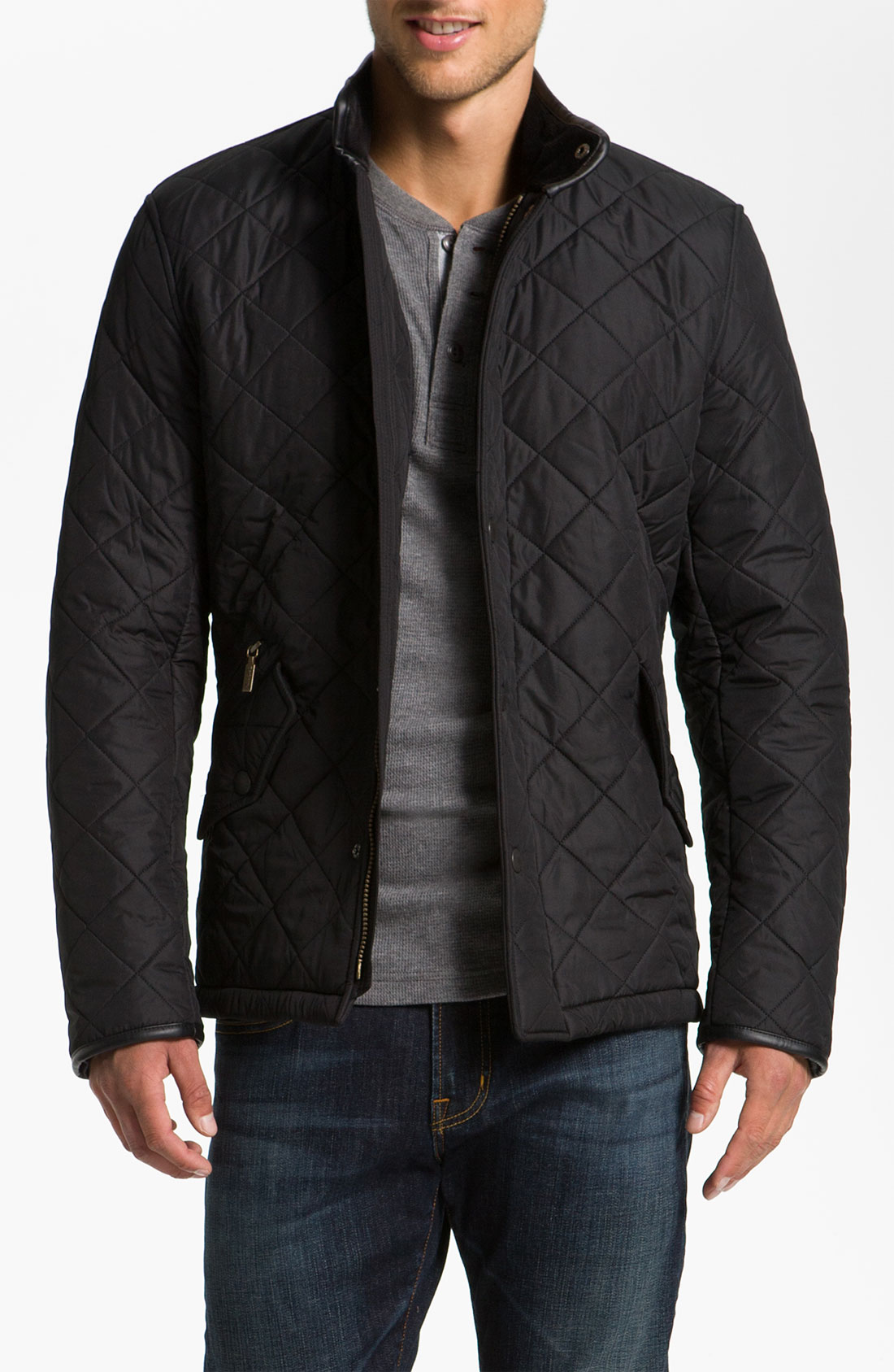 Barbour powell quilted jacket in black for men lyst for Quilted jackets for men