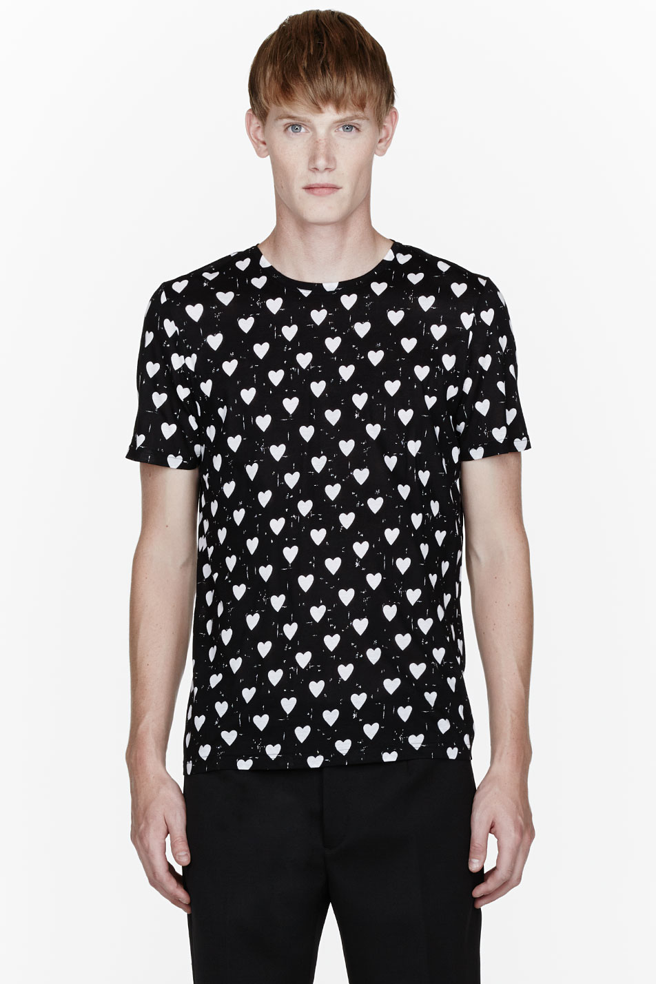 burberry prorsum black and white heart print t shirt in. Black Bedroom Furniture Sets. Home Design Ideas