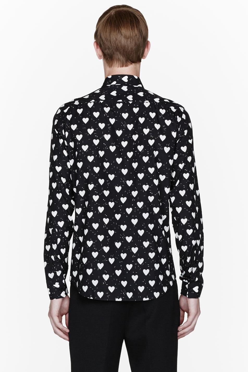 Lyst Burberry Prorsum Black Heart Print Shirt In Black