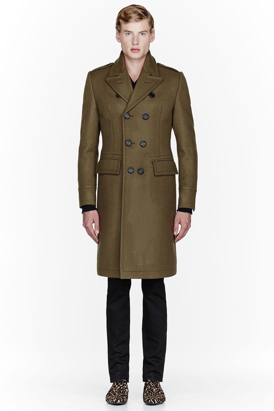 Men's olive wool coat