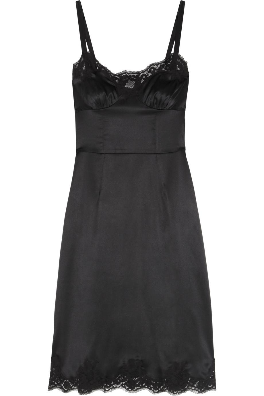 Dolce Amp Gabbana Lace Trimmed Stretch Silk Satin Dress In