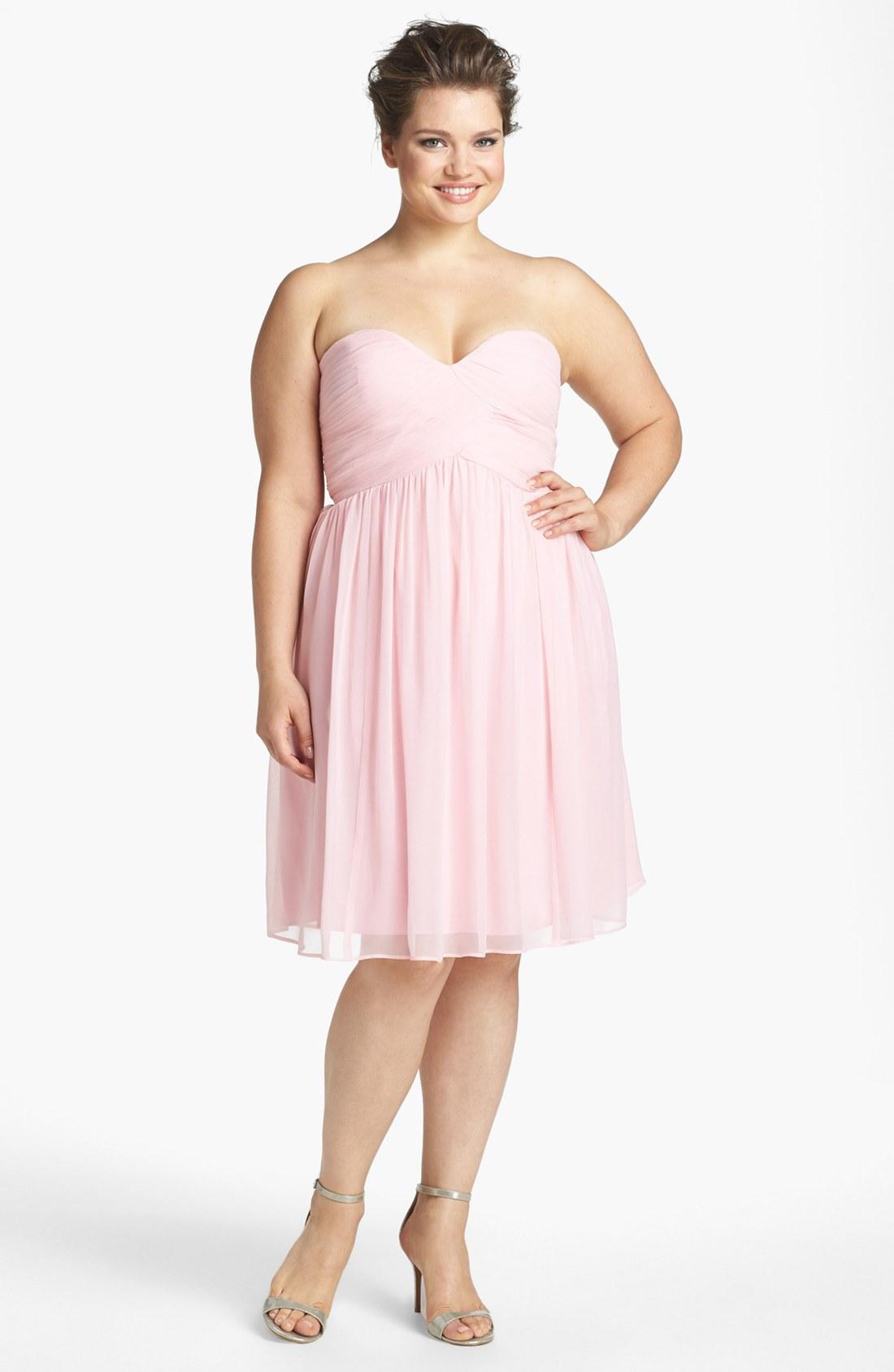 Donna morgan 'Morgan' Strapless Silk Chiffon Dress in Pink | Lyst
