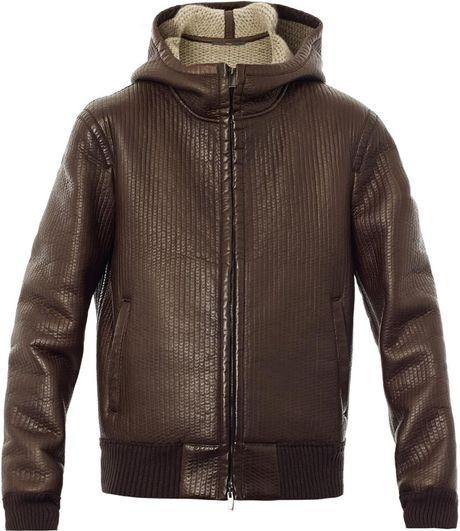 Fendi Hooded Leather Bomber Jacket in Brown for Men