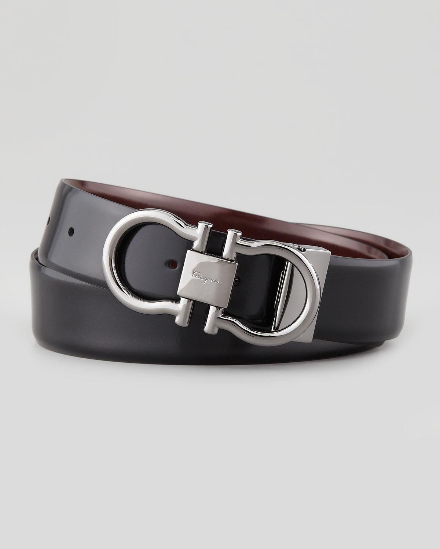 Ferragamo Reversible Gancini Belt In Brown For Men Black