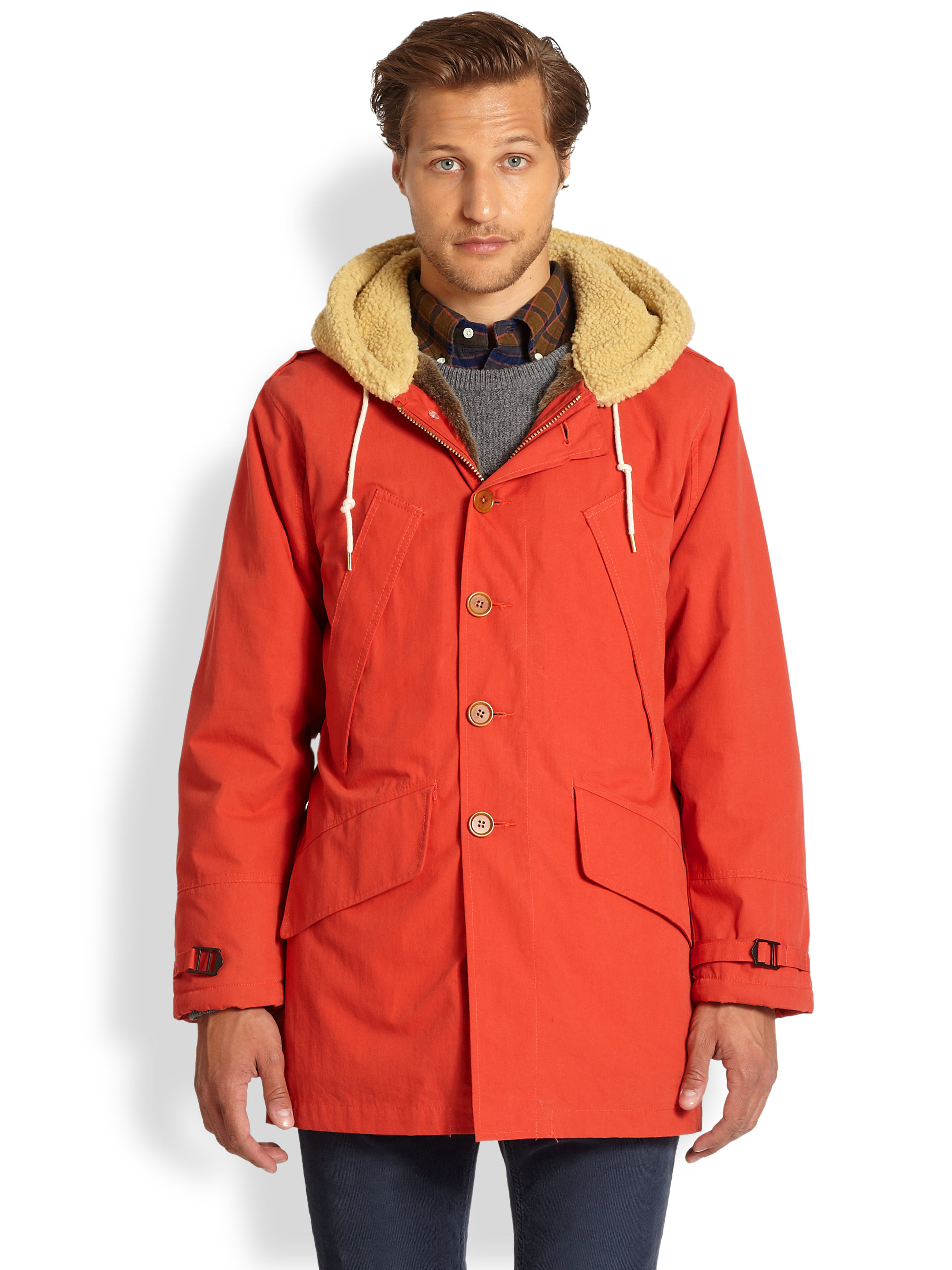 Gant Rugger Winter Flyer Faux Furlined Jacket In Red For