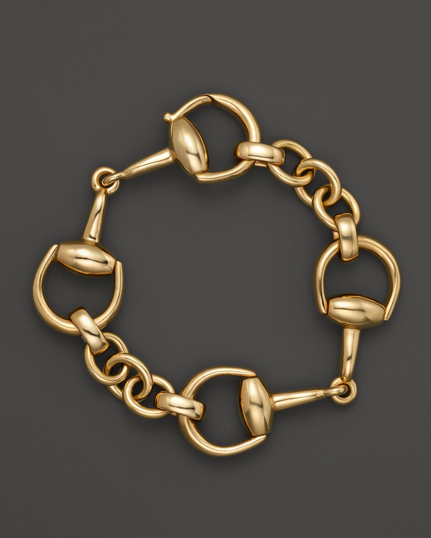 gucci 18k yellow gold small horsebit bracelet in yellow lyst