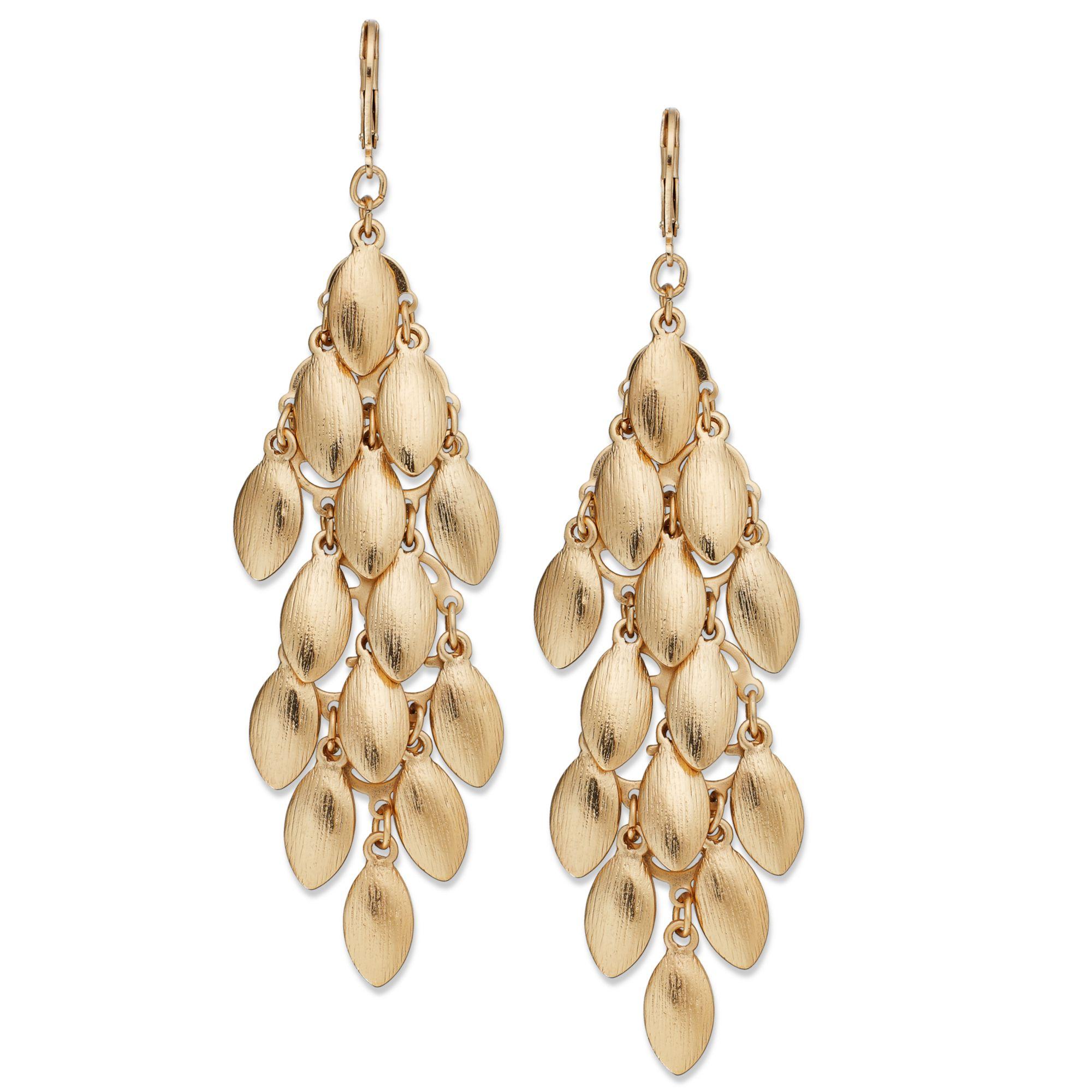 Inc international concepts Goldtone Teardrop Leaves Chandelier ...