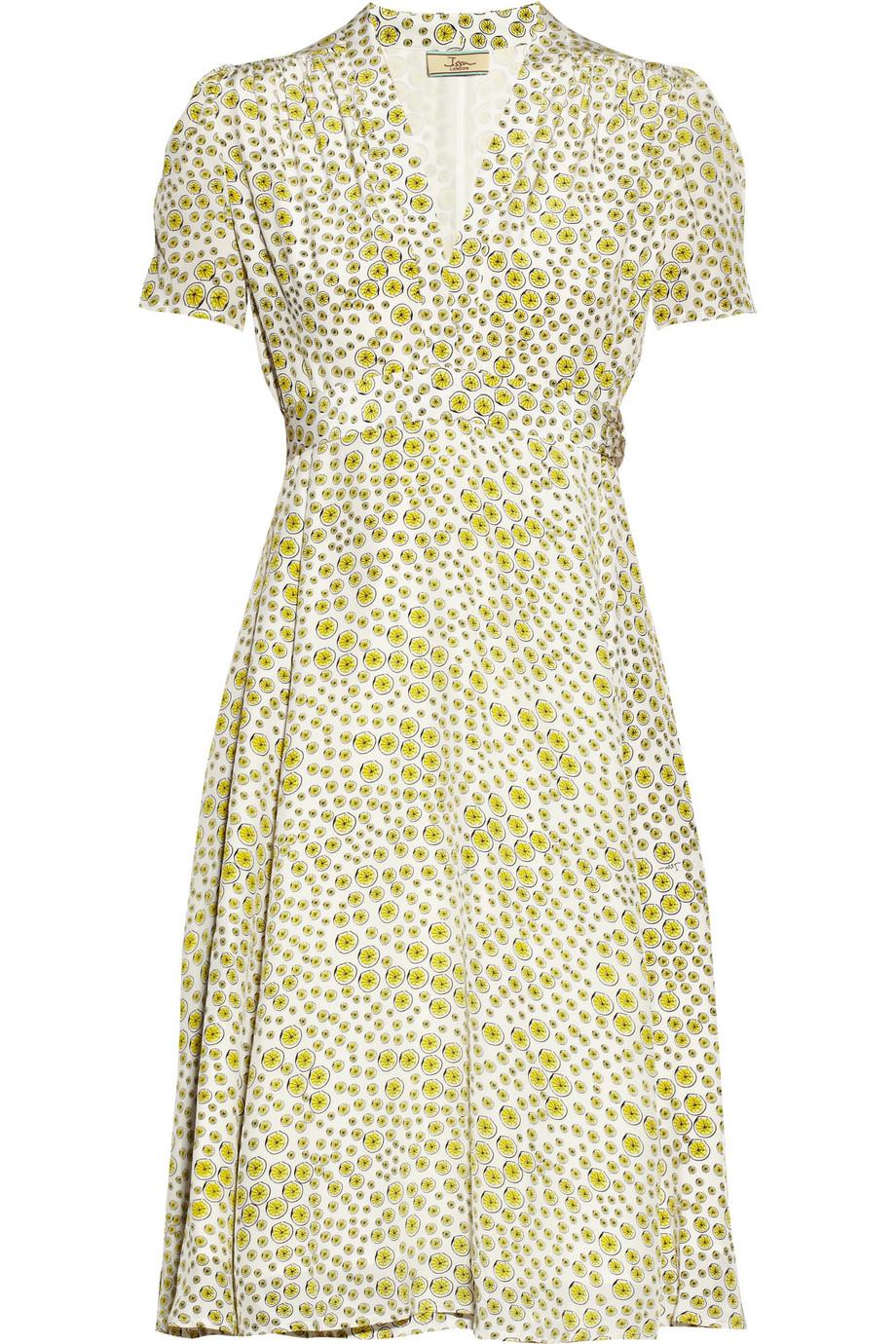 Issa Lemon Print Silk Wrap Dress In Yellow Lyst