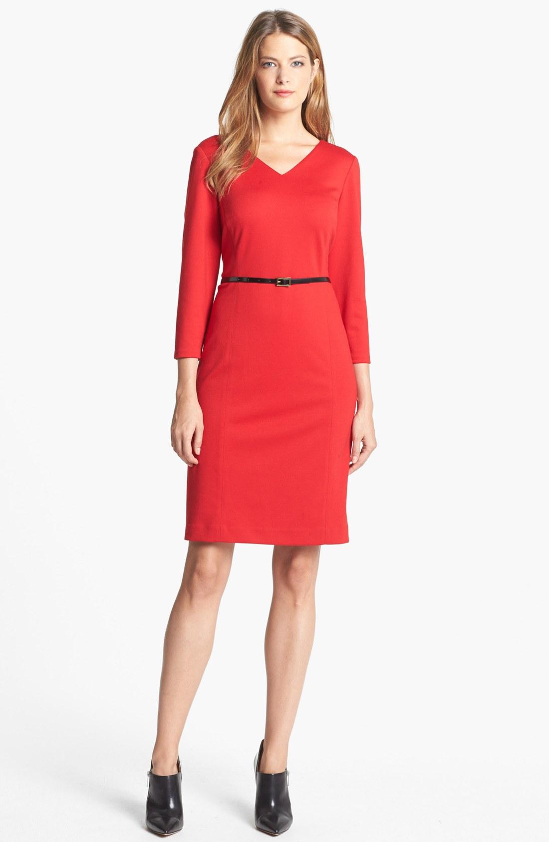 jones new york scarlet ponte sheath dress in red lyst. Black Bedroom Furniture Sets. Home Design Ideas