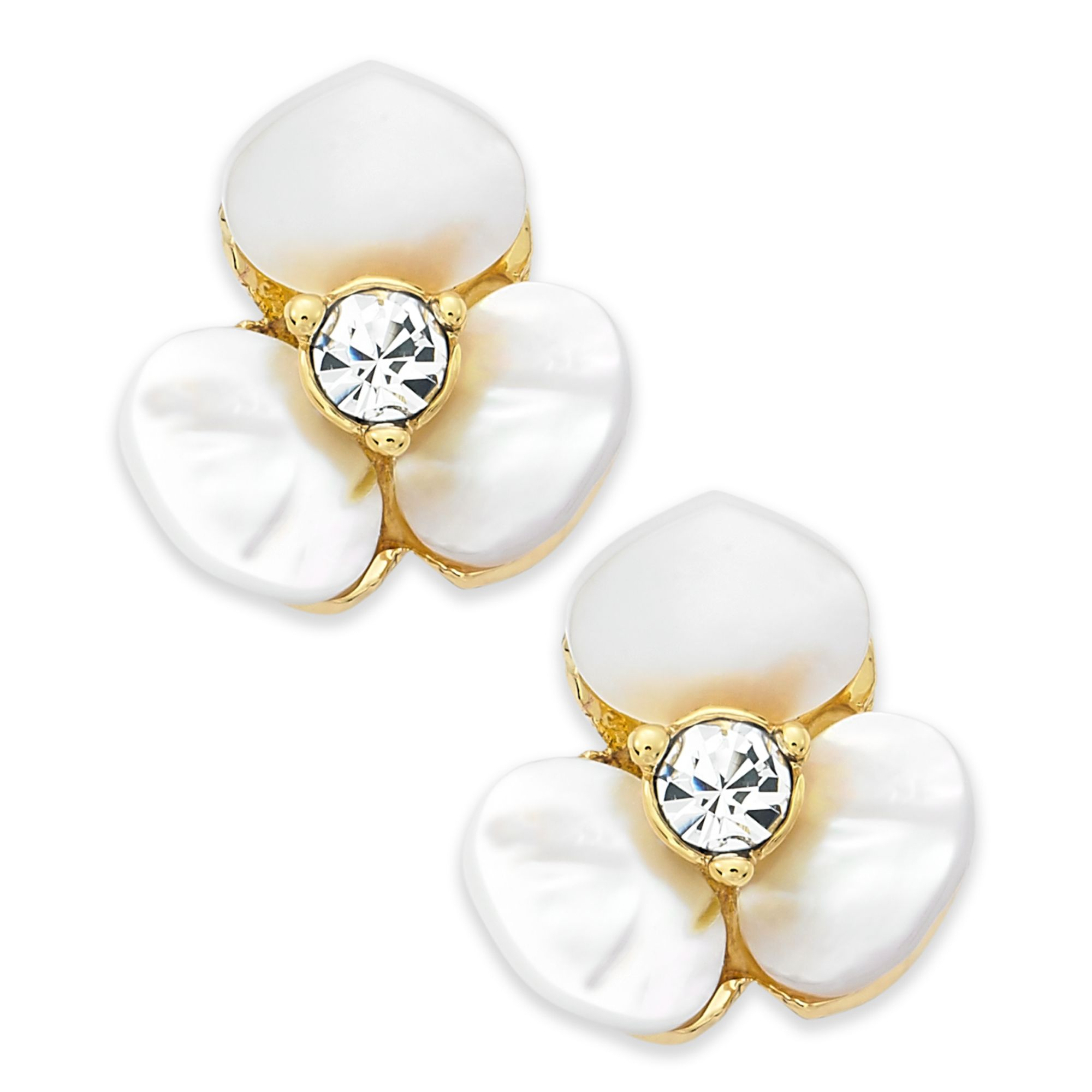 kate spade earrings gold tone disco pansy flower