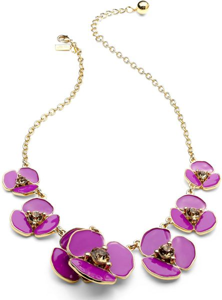 Kate Spade New York Necklace Gold Tone Disco Pansy Purple