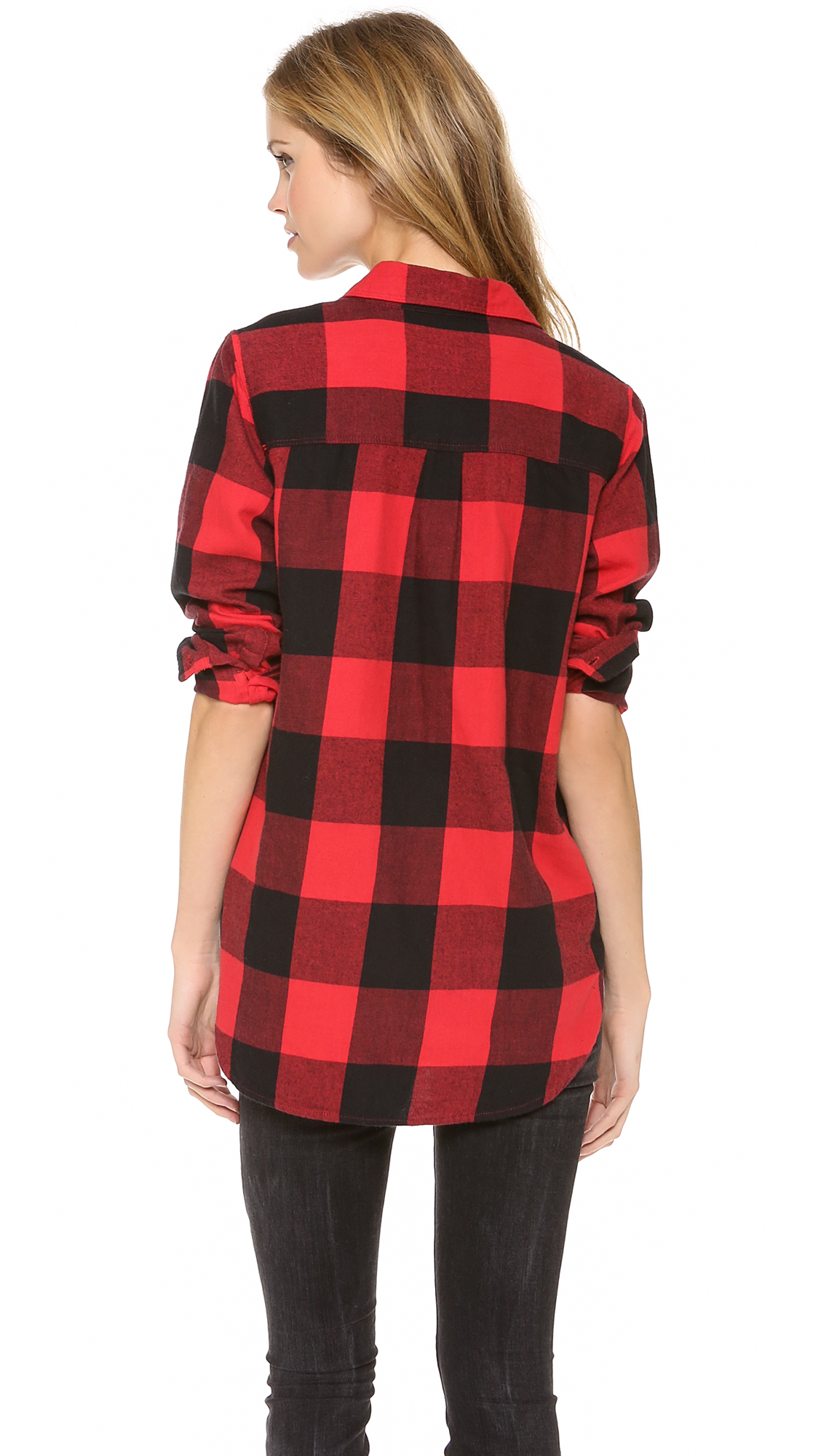 Madewell Buffalo Check Ex Bf Shirt in Black | Lyst