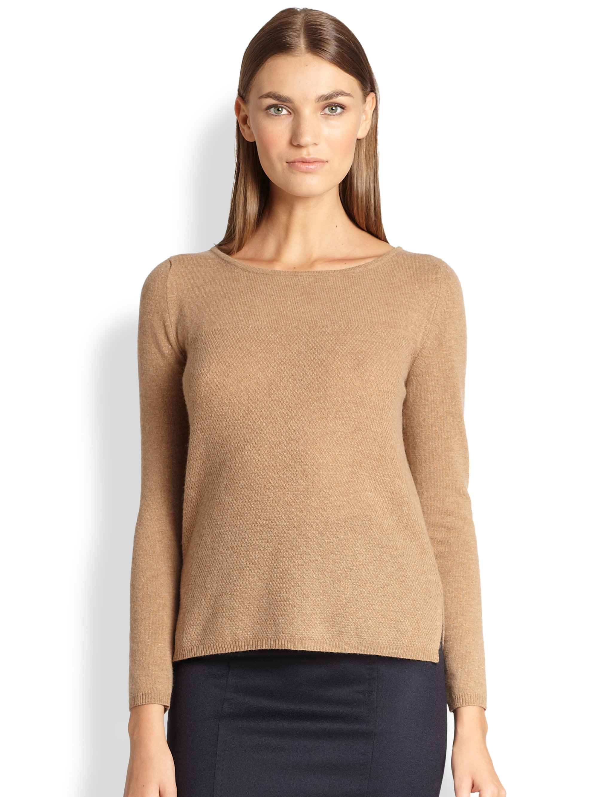 Max mara Textured Wool Cashmere Sweater in Brown | Lyst