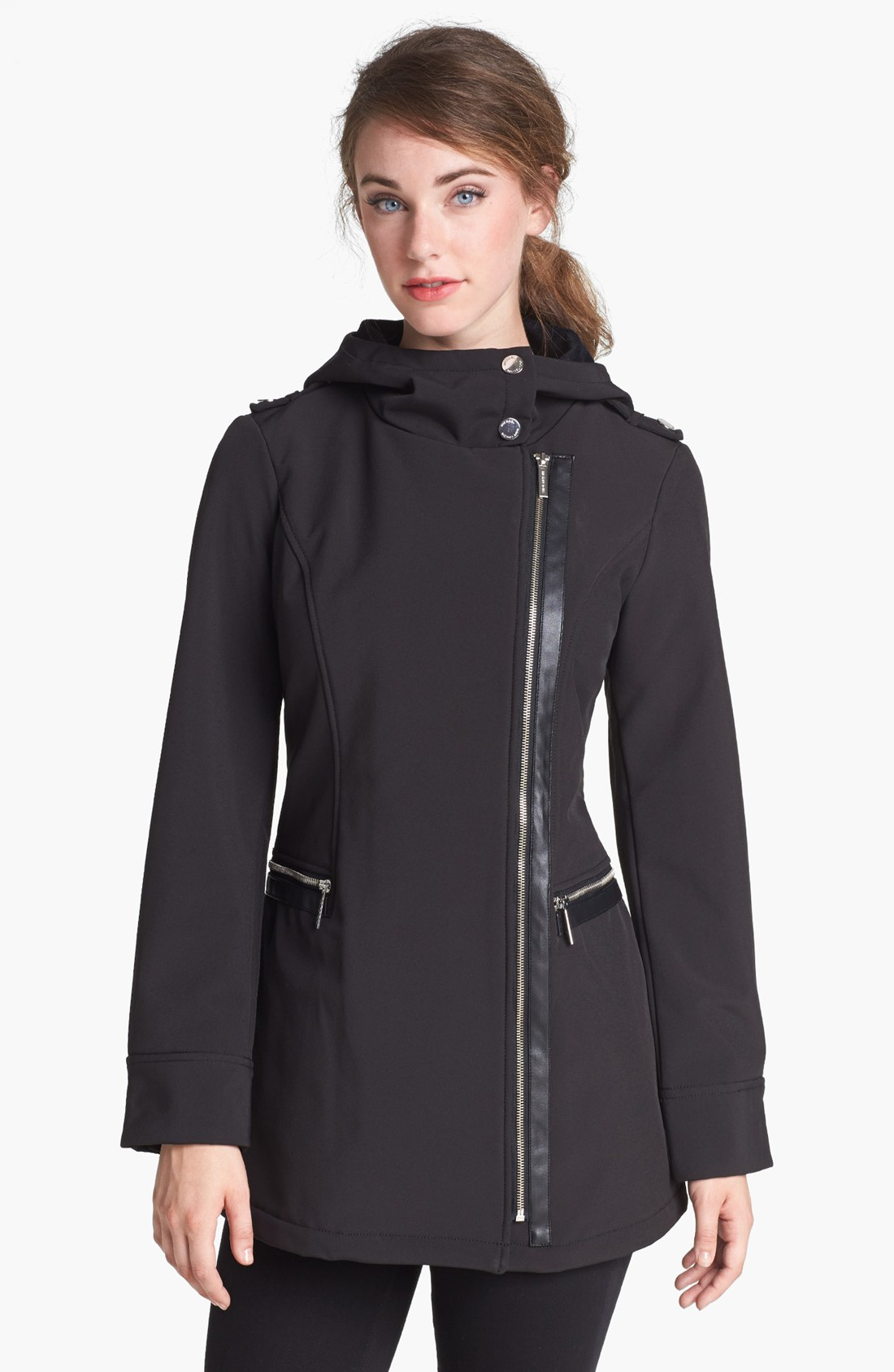 michael michael kors faux leather trim soft shell jacket in black lyst. Black Bedroom Furniture Sets. Home Design Ideas