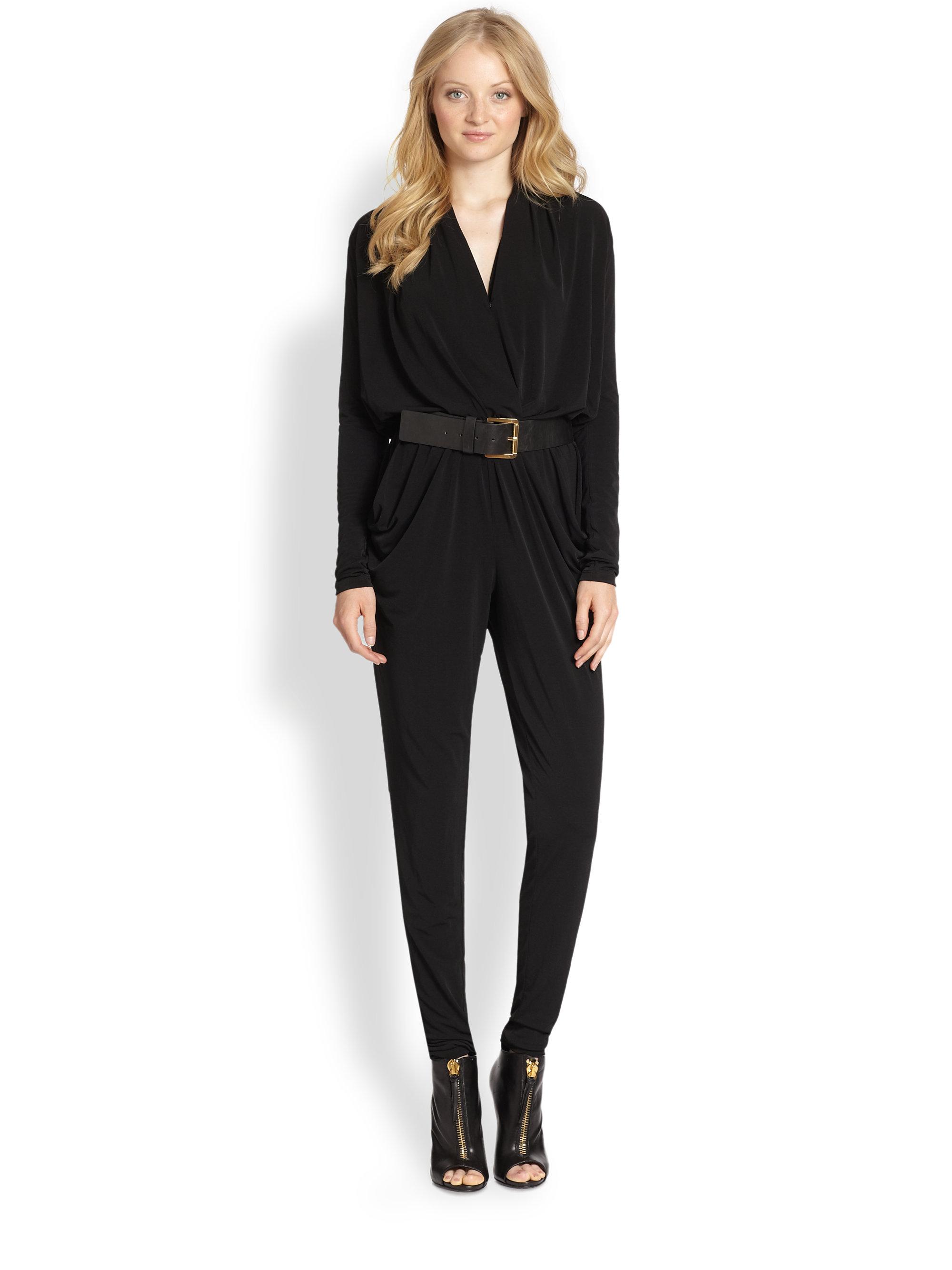 michael michael kors surplice belted jumpsuit in black lyst. Black Bedroom Furniture Sets. Home Design Ideas